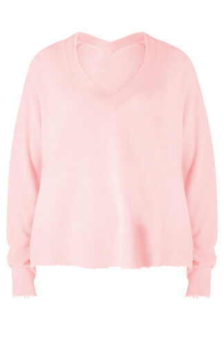 Bloom V-Neck Sweater in Fresh Pink