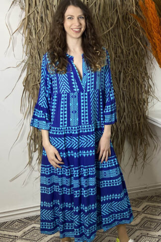 Miss Goodlife Kleid in blau mit Ikat Muster